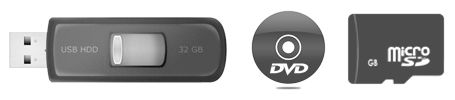USB, micro SD, and DVD/CD media supported